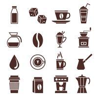Kaffe ikoner monokrom