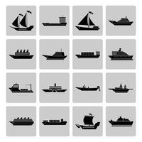 Skepp och båtikoner Set vektor