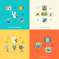 Fotografi ikoner platt vektor