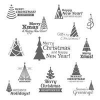 Weihnachtsbaumstempel schwarz eingestellt