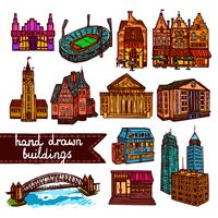 Sketch city building set färg vektor
