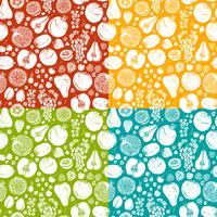 Frukt och bär skissar sömlöst mönster vektor
