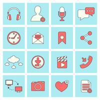 Sociala nätverk ikoner platt linje vektor