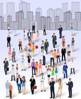 Grupp av människor i staden