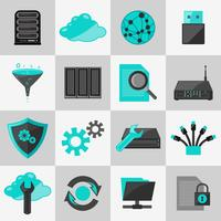 Datenbank-Icons flach