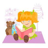 Mädchen liest ein Buch vektor
