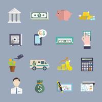 Bankservice-Ikonenflachsatz
