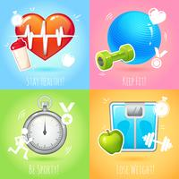 Hälsosam livsstil illustration uppsättning vektor