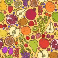Frukt och bär skissar sömlöst mönster
