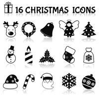 Weihnachtsikonen schwarz eingestellt