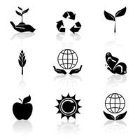 Ökologie Icons Set Schwarz