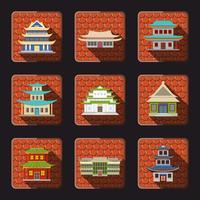 Kinesiska hus ikoner kakel vektor