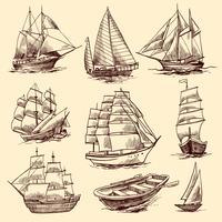 Schiffe und Boote Skizzensatz vektor