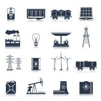 Energi ikoner svart uppsättning