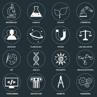 Vetenskapsområden ikoner vit vektor