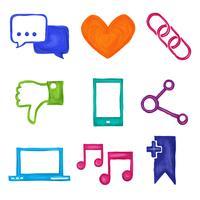 Sociala medier ikoner målade vektor