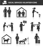 Ikoner för sociala tjänster sätta svart vektor