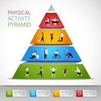 Fysisk aktivitet pyramid infografisk vektor