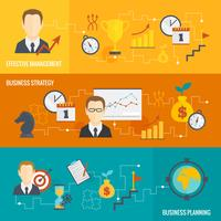 Geschäftsstrategie-Planungs-Fahnenset vektor