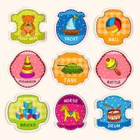 Leksaker etiketter skiss