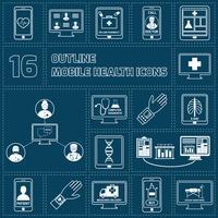 mobil hälsa ikoner uppsättning skiss