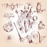 Halloween-Skizzensatz