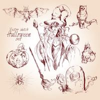Halloween-Skizzensatz vektor