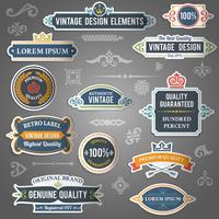 Vintage Design-Elemente-Aufkleber