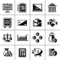 Finans ikoner sätta svart