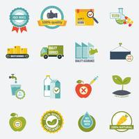 Kvalitetskontroll ikoner platt