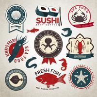 Seafood etiketter uppsättning vektor