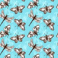 Fjärilar och sländor sömlösa mönster vektor