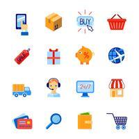 Einkaufse-Commerce-Ikonen flach eingestellt vektor