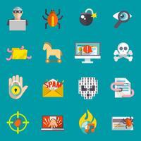 Hacker ikoner platt set vektor