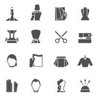 Kläder designer ikoner svart vektor