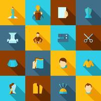 Kläder designer ikoner platt vektor
