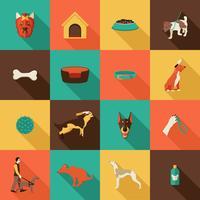 Hund ikoner platt vektor