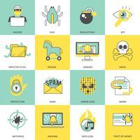 Hacker ikoner platt linje
