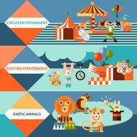 Cirkus ikoner flat banner set