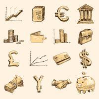 Finans ikoner sätta skiss guld