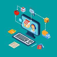 Shopping e-handels ikoner ställs isometrisk