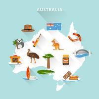 Australien turist karta vektor