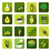 Oliven-Symbole flach