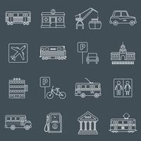 Stadens infrastruktur ikoner skiss