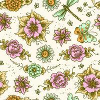 Vintage blommigt färgat sömlöst mönster