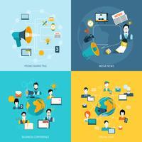 Kommunikationsikoner inställda på platt vektor