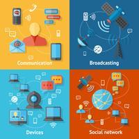 Kommunikation platt ikonuppsättning vektor