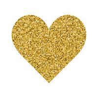 Glitter Valentinsdag kärlekshjärta på en vit bakgrund.