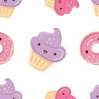 Seamless mönster med godis - munkar, muffins isolerade på vit bakgrund. vektor