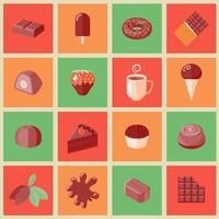 Choklad ikoner platt vektor